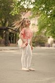 Kid Long Hair Enjoy Walking. Summer Holidays. Little Child Enjoy Walk. Health, Good Mood And Positiv poster