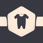 Grunge Baby Clothes Icon Isolated On Grey Background. Baby Clothing For Baby Girl And Boy. Baby Body poster