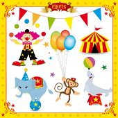 stock photo of circus clown  - Fun Circus Set - JPG