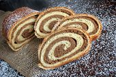 Walnut Bread Roll On Wooden Background.croatian Orehnjaca poster