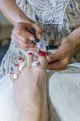 Pedicure Process Macro Closeup. Pedicure Process And Spa Procedure Macro Closeup. Master Does Pedicu poster