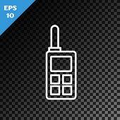 White Line Walkie Talkie Icon Isolated On Transparent Dark Background. Portable Radio Transmitter Ic poster