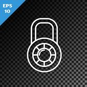 White Line Safe Combination Lock Wheel Icon Isolated On Transparent Dark Background. Combination Pad poster