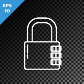 White Line Safe Combination Lock Icon Isolated On Transparent Dark Background. Combination Padlock.  poster