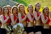 VIENNA, AUSTRIA - JUNE 5 Cheerleaders during the national anthem at Charity Bowl XIII on June 5, 201