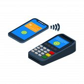 Nfc Payment Vector Design, Vector Illustration Of Contactless Payment, Contactless Payment Isometric poster