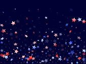 American Independence Day Stars Background. Holiday Confetti In Usa Flag Colors For Presidents Day.  poster