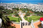 Panoramic view on Haifa from  beautiful  Bahai Gardens. Israel.