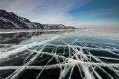 Ice Patterns On Lake Baikal. Siberia, Russia poster