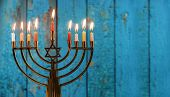 Hanukkah With Menorah Jewish Holiday Traditional Candelabra With Candles Menorah poster