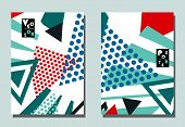 Trendy Cover With Abstract Graphic Shapes. Two Modern Vector Flyers In Avant-garde  Style. Geometric poster