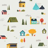 Cute Houses Pattern. Funny Cartoon Kids Seamless Texture With Tiny Houses Trees And Mountain. Vector poster