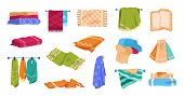 Bath Towels. Beach And Spa Soft Cotton Towels In Stack And Rolled, Hygiene And Kitchen Textile Cloth poster