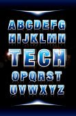 vector of futuristic alphabets and fonts