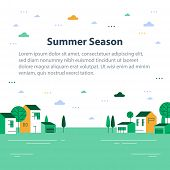 Summer Season In Small Town, Tiny Village View, Row Of Residential Houses, Beautiful Green Neighborh poster
