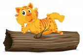 pic of hollow log  - Illustration of a tiger on a log - JPG
