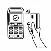 Vector Outline Of Nfc Payments. Pos Terminal Confirms Contactless Payment From Credit Card. Vector I poster
