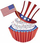 4Th Of July Cupcake With Flag And Hat Illustration