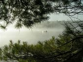 Canoeing On Lake In Early Morning Mist