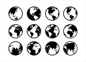 Globe Icon, Big Collection Earth Globes. Black Color Globes. Globe And Earth Icon Set. World Map. Pl poster
