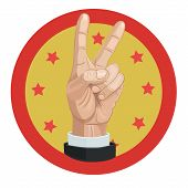 Freedom Independence Two Fingers Symbol Of Human Freedom And Independence As In The Material World A poster