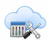 Cloud server optimization and configuration concept. Screwdriver and spanner tools and cloud. Vector