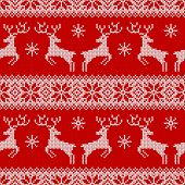 Knitted Seamless Pattern With Deers, Snowflakes And Scandinavian Ornament. Red And White Sweater Bac poster