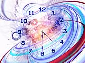 image of punctuality  - Artistic background for use with projects on scheduling temporal and time related processes deadlines progress past present and future made of gears clock elements dials and dynamic swirly lines - JPG