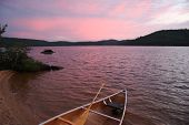 stock photo of paddling  - Sunset in Algonquin park - JPG