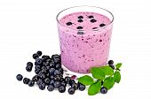 Milkshake with blueberries and a sheet