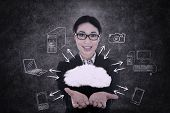 Businesswoman Offers Cloud Computing