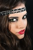 Beautiful Brunette With A Black Headband