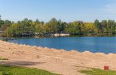 picture of sankt-peterburg  - beach in the spring before the season Verhnee Suzdalskoe lake Sankt - JPG