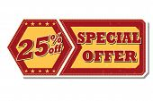 25 Percentages Off Special Offer - Retro Label