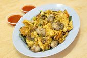 Southeast Asian Fried Baby Oyster Omelette