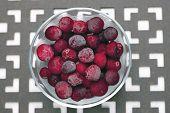 Bowl Of Frozen Cranberries.