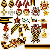 Collection Of Retro Russian Medals And Ribbons For Design