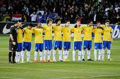 GENEVA, SWITZERLAND - MARCH 21: Brazilian football team poses for one minute silence during the frie