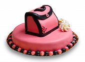 Birthday Cake With Pink Frosting,decorated With A Woman Handbag