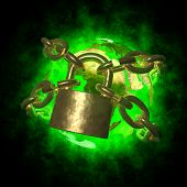 Green Earth Wirh Aura Breaking Golden Chain
