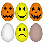 Eggs with easter and Halloween smile