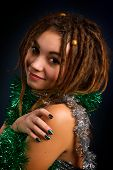 Portrait Of A Beautiful Young Woman With Dreadlocks
