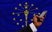 Cell Phone In Front  Flag Of American State Of Indiana