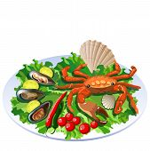 Crab In Salad On The White Plate