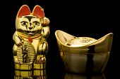 Goldbarren und lucky Cat (China)
