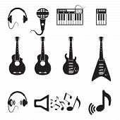 Set of vector black music icons