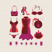picture of flirty  - collection of isolated woman clothes and accessories in romantic flirty style vector illustration - JPG