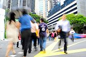 stock photo of zebra crossing  - Unidentified businessmen crossing the street in Singapore - JPG