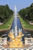 Sea Canal And The Grand Cascade In Peterhof.