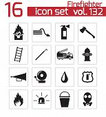 foto of firefighter  - Vector black firefighter icons set white background - JPG
